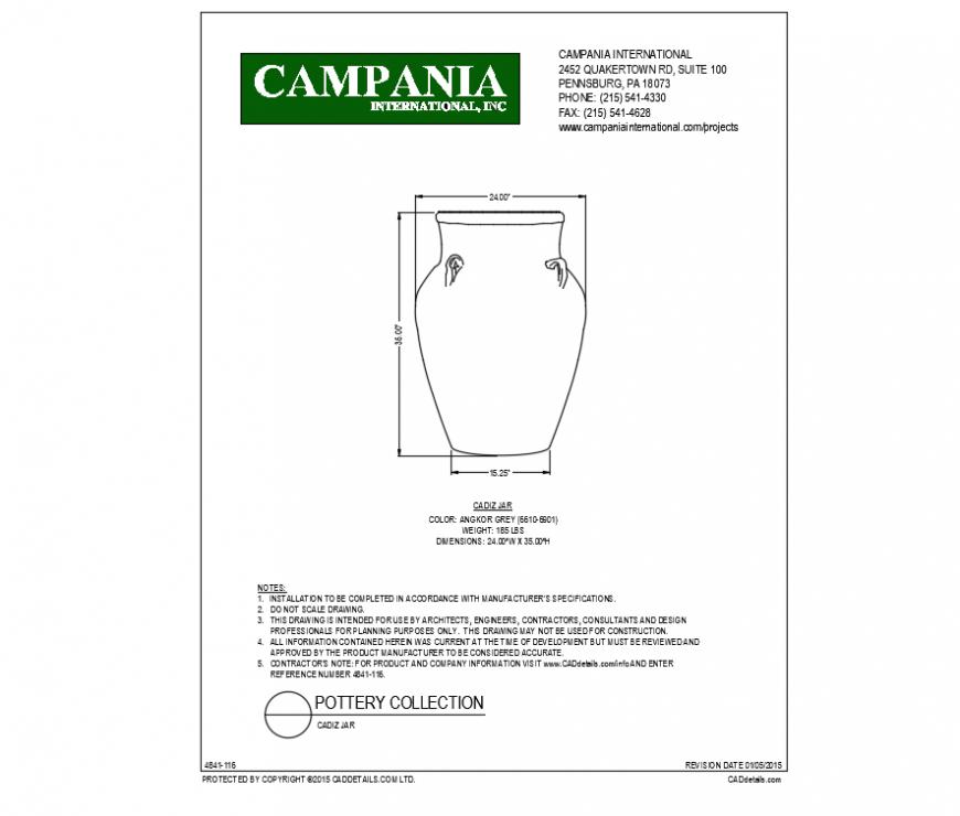 Cadiz jar type planter design of Angkor grey color cad block dwg file