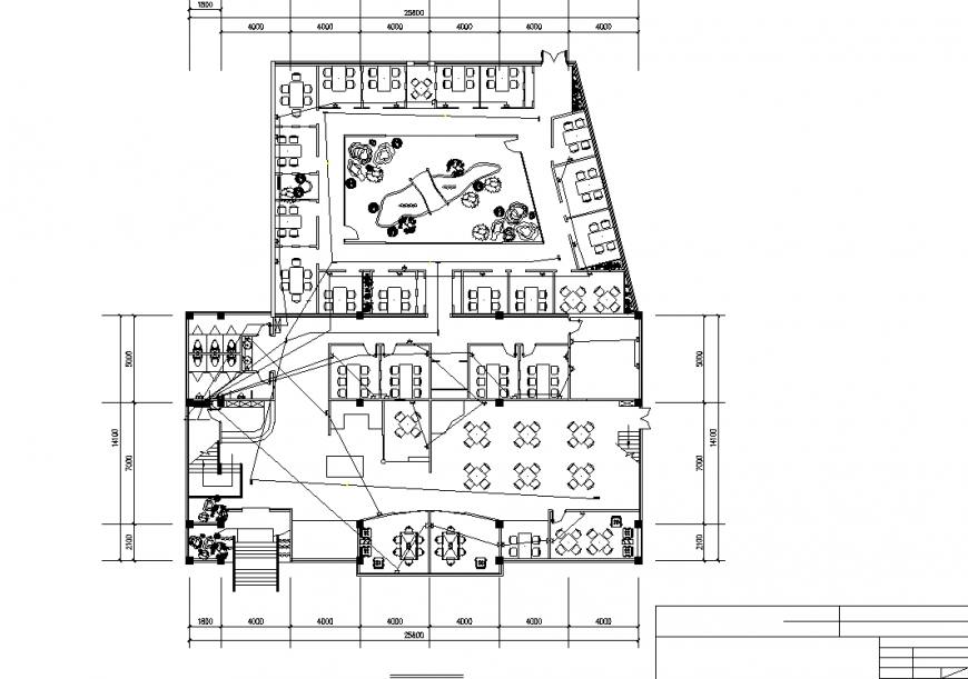Café and restaurant site plan drawing in dwg file.