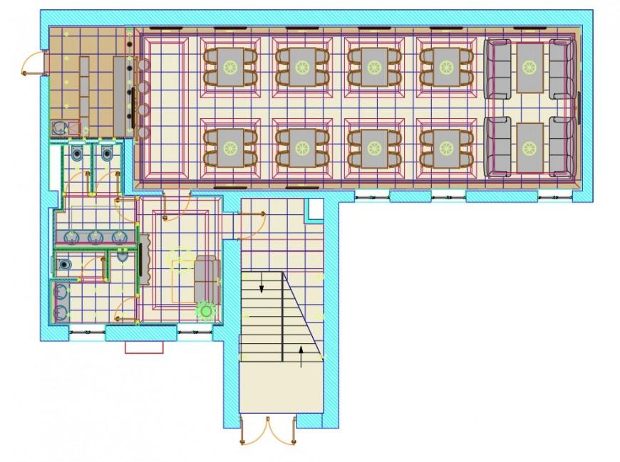 Café layout plan autocad file