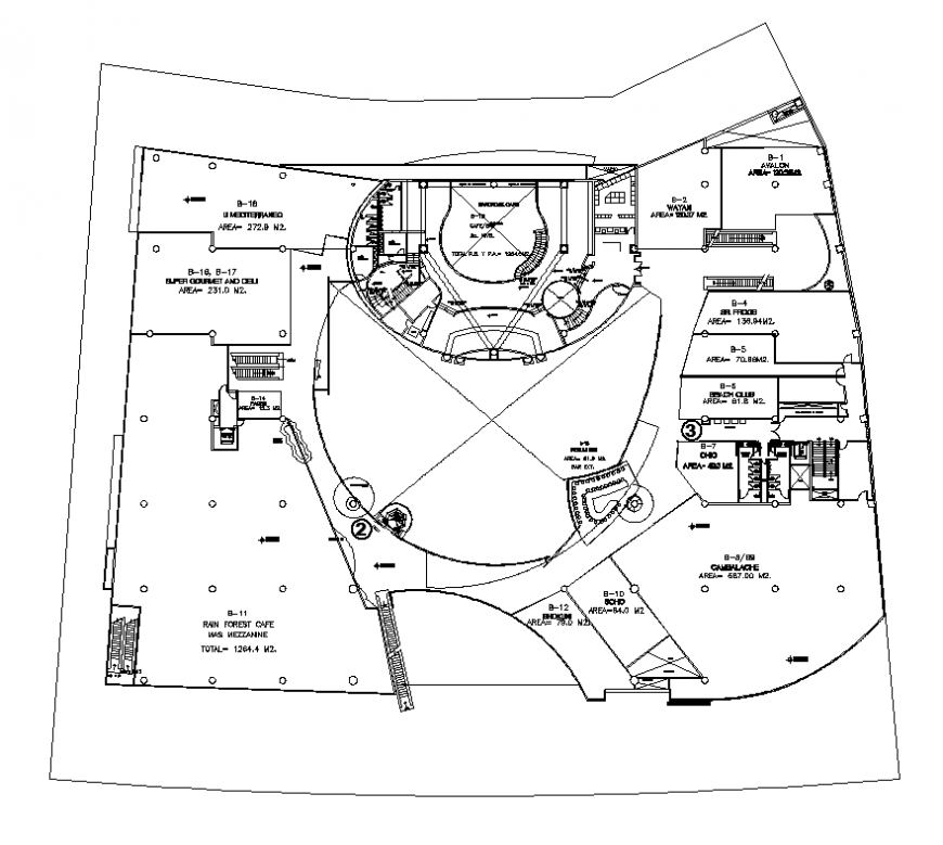 Cafe building structure detail plan 2d view layout file in dwg format