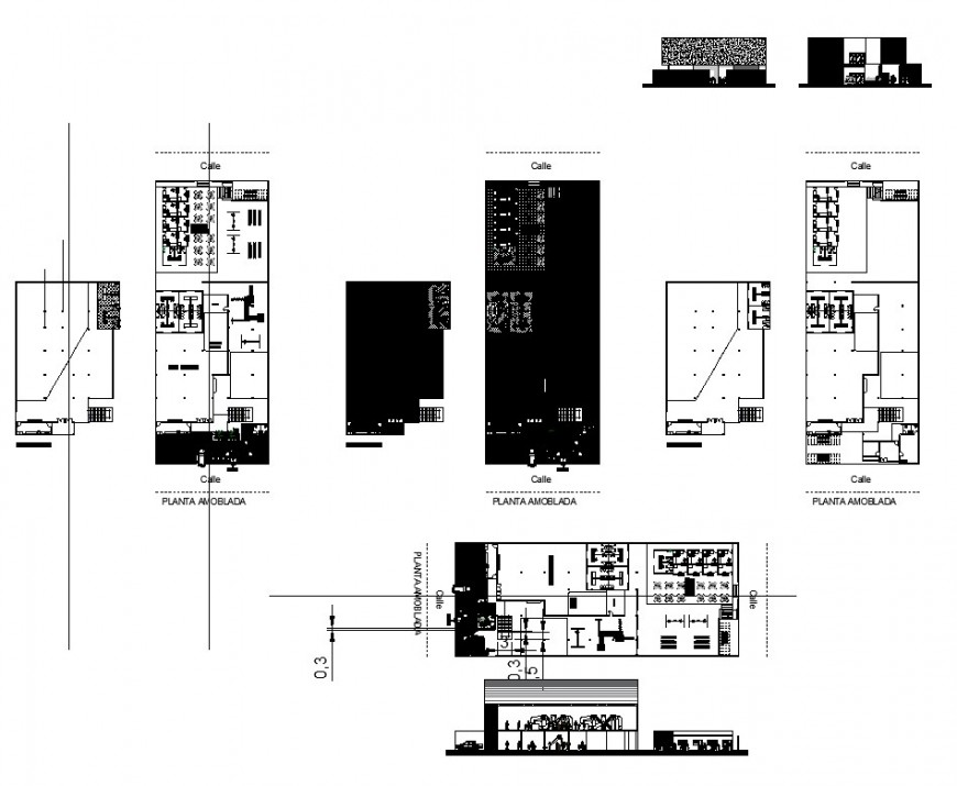 Cafe building structure detail plan and sectional detail 2d view layout autocad file