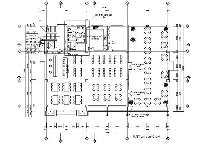 Cafe plan with washing area and sanitary detail in plan of autocade file
