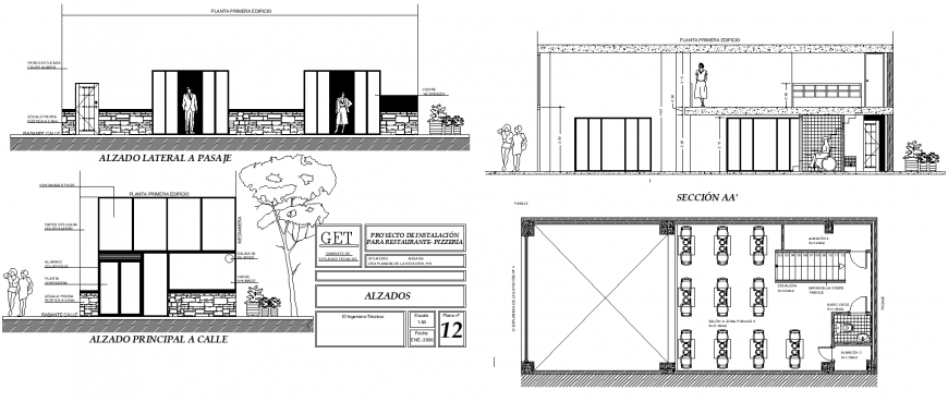 Cafe working drawing in dwg AutoCAD file.