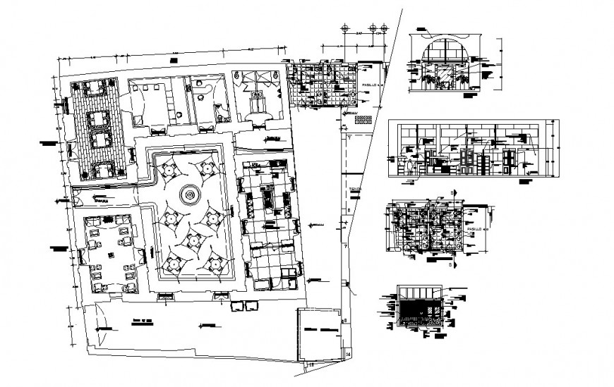 Cafeteria-restaurant section, floor plan and sanitary installation cad drawing details dwg file