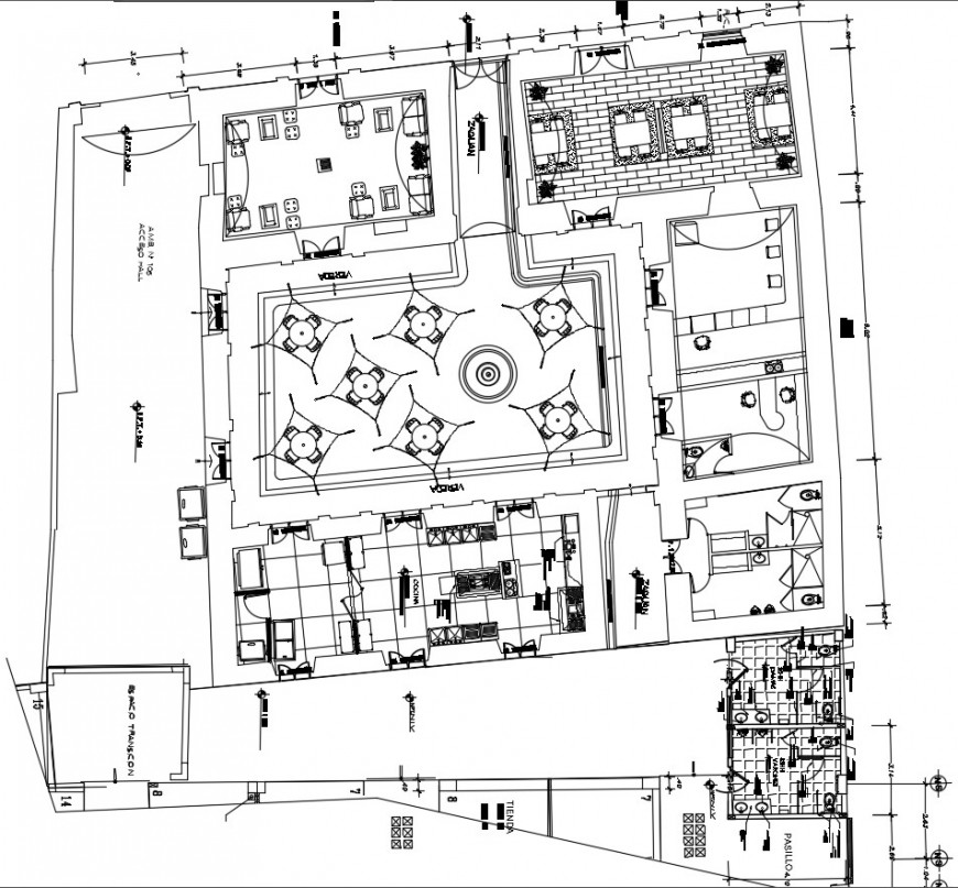 Cafeteria and food store distribution plan cad drawing details dwg file