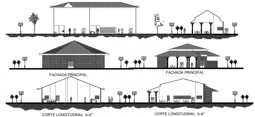 Cafeteria of re-creation center elevations and sections drawing details dwg file