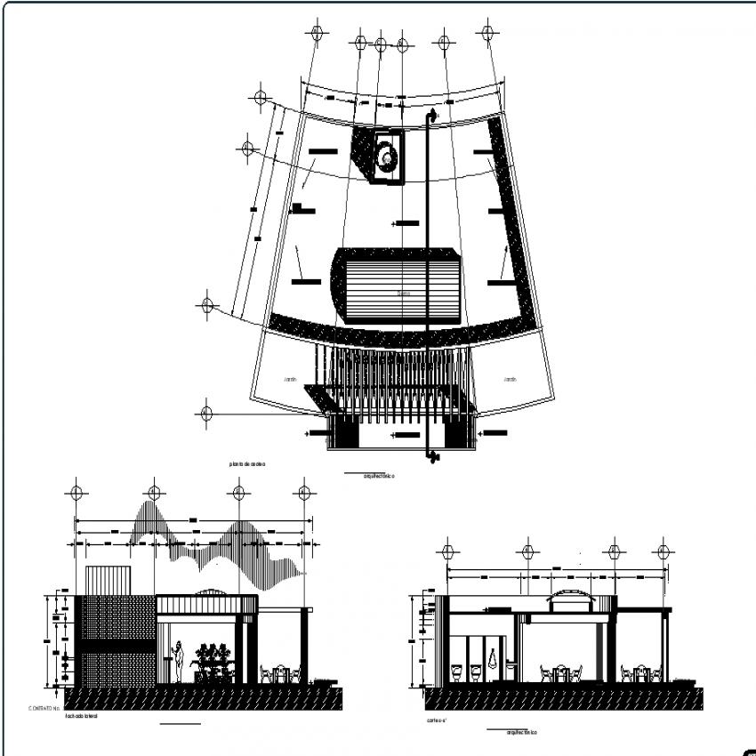 Cafeteria plan detail dwg file.
