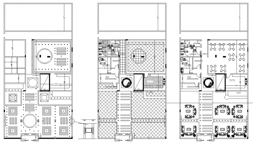 Cafeteria plan with a detailing & dwg file.