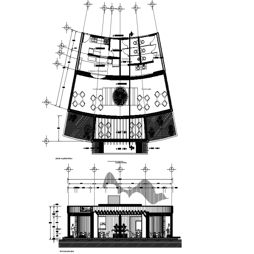 Cafeteria plan with detail dwg file.
