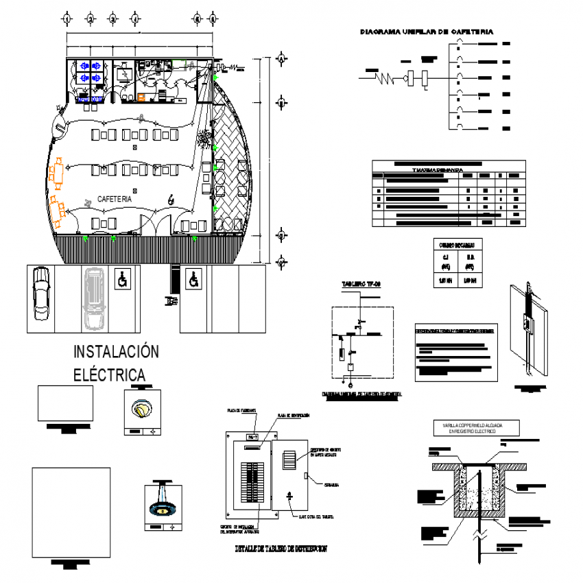 Cafeteria plan with detailed dwg file.