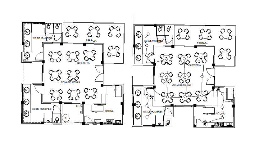 Cafeteria restaurant layout plan with electrical layout plan drawing details dwg file