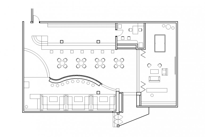 Cafeteria restaurant type architecture layout plan cad drawing details dwg file