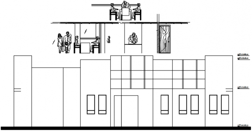 Cafeteria sectional elevation details dwg file