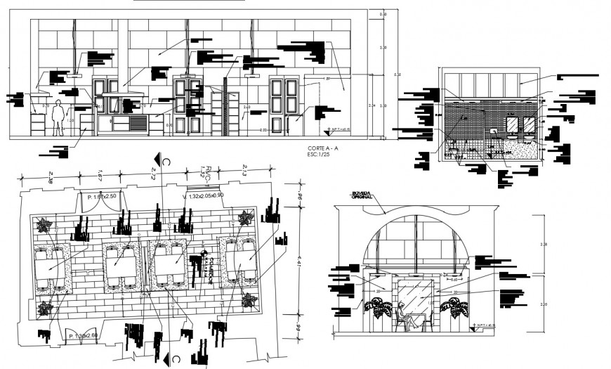 Cafeteria store elevation and constructive structure details dwg file