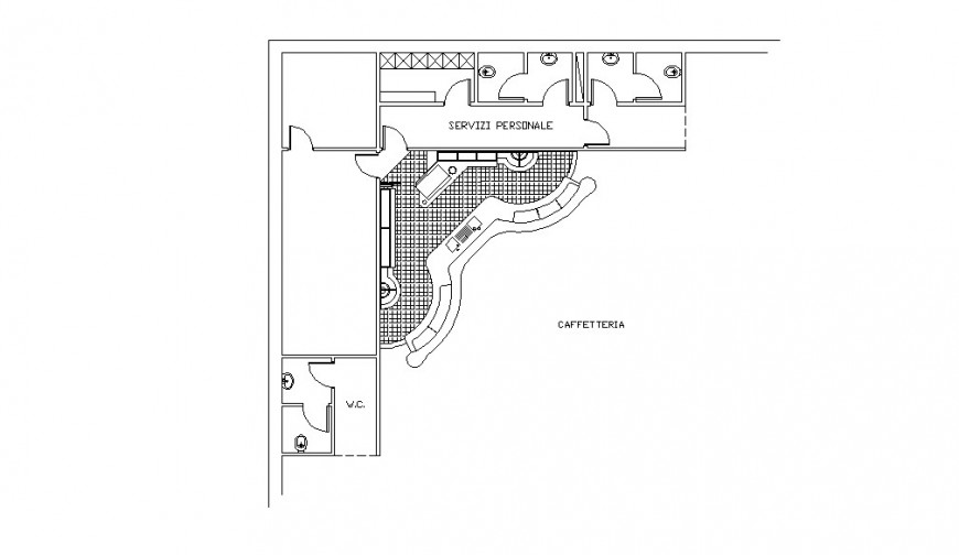 Cafeteria top view architecture layout plan cad drawing details dwg file