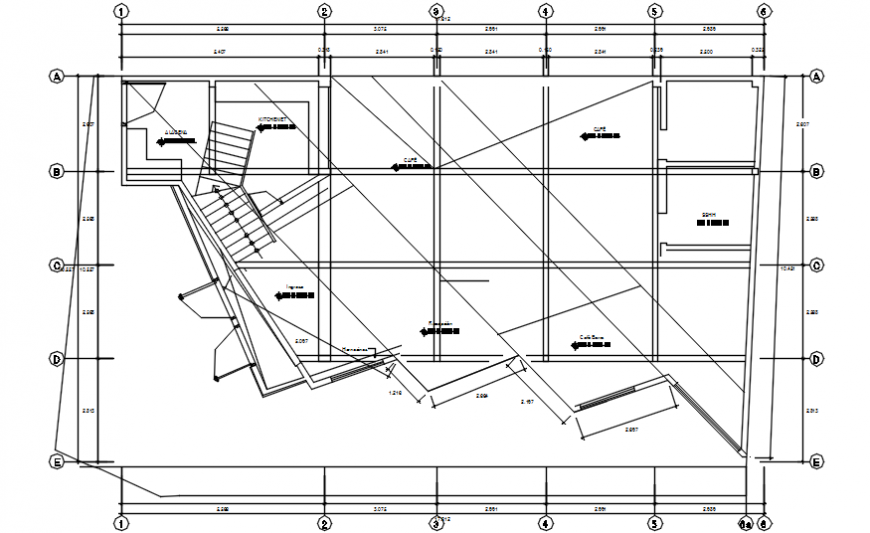 Cafeteria top view architecture plan