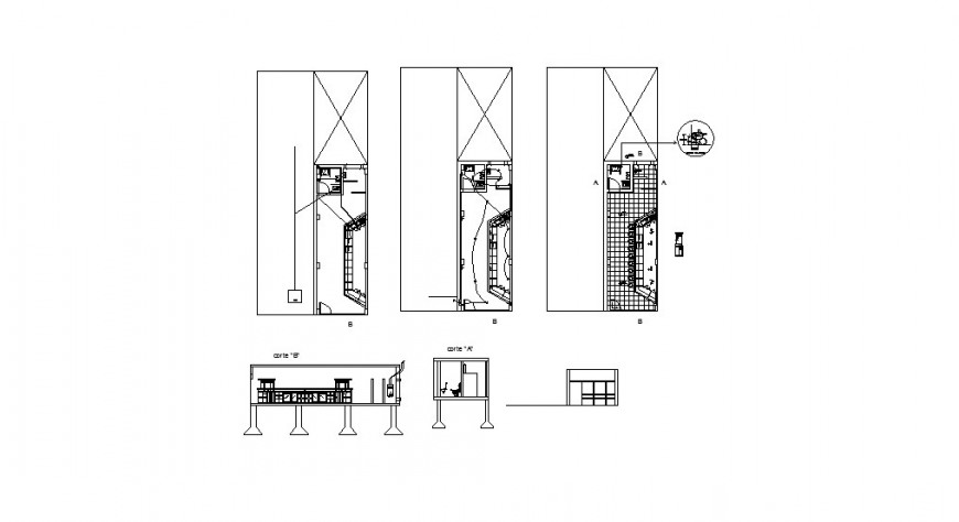 Cafeteria with bar-section, plan and auto-cad drawing details dwg file