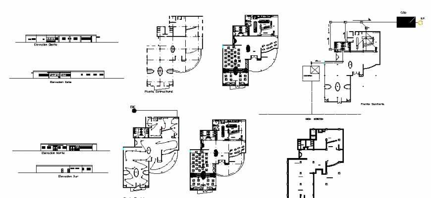 Cafeteria with fast-food restaurant all sided elevation, floor plan, electrical layout and structure details dwg file