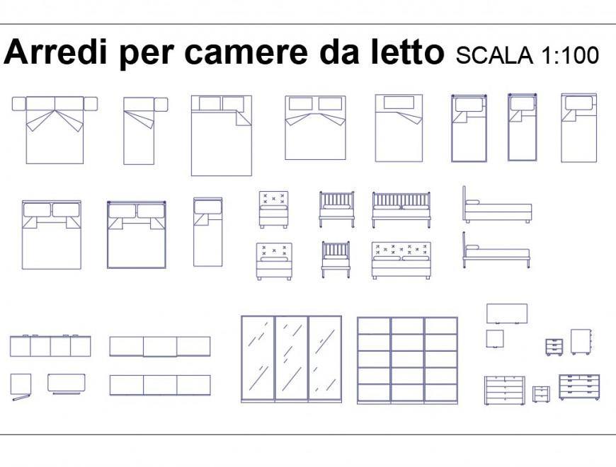 Camera Da Letto Dwg.Camera Letto Plan Dwg File Cadbull