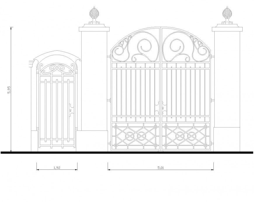 Cancello 2d front elevation dwg file