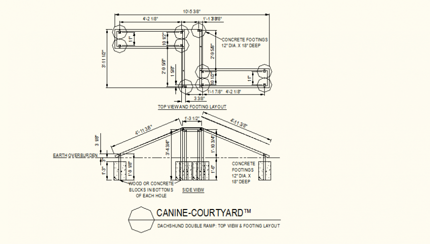 Canine courtyard double ramp detail plan and elevation layout file