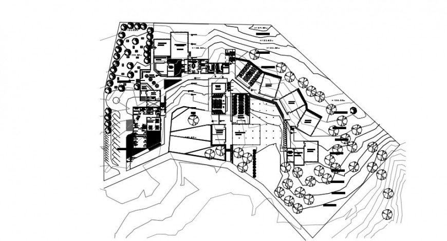 Canopy roof and hotel project top view plan detail dwg file