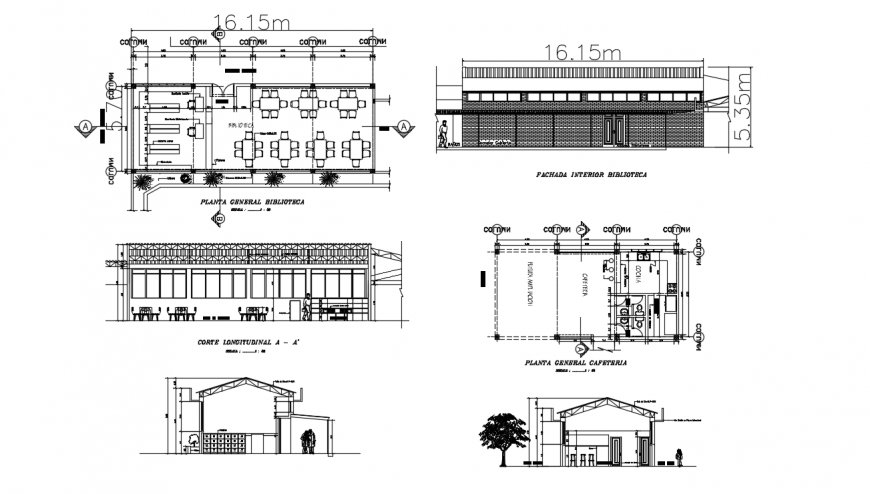 Canteen and dining area for hostel elevation, section and plan drawing details dwg file