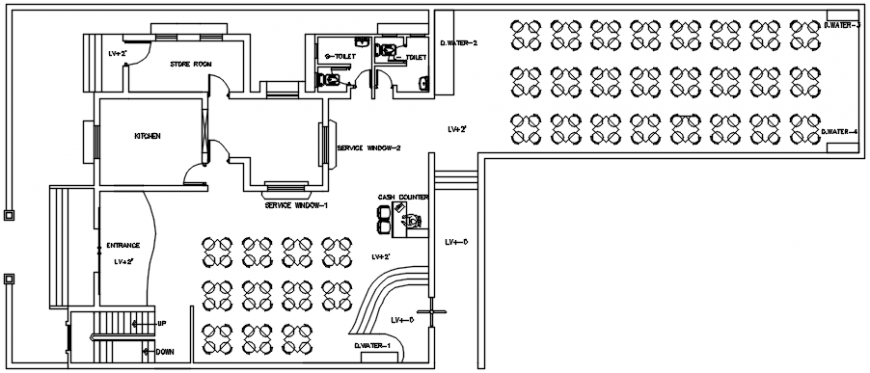 Canteen distribution layout plan with furniture cad drawing details dwg file