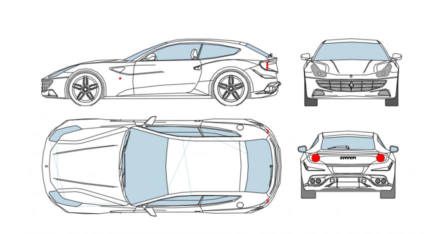 Car  model elevation detail dwg file