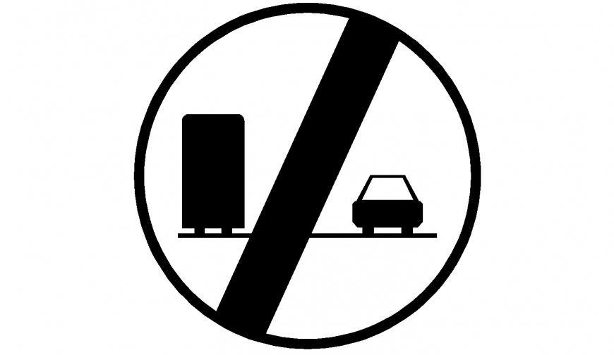 Car and heavy vehicle prohibited area signage image in dwg AutoCAD file.