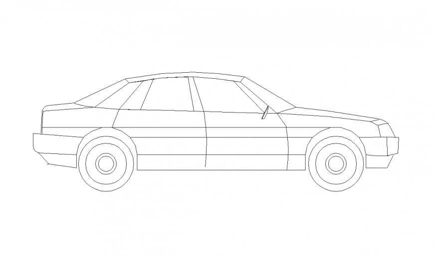 Car design view with its elevation dwg file