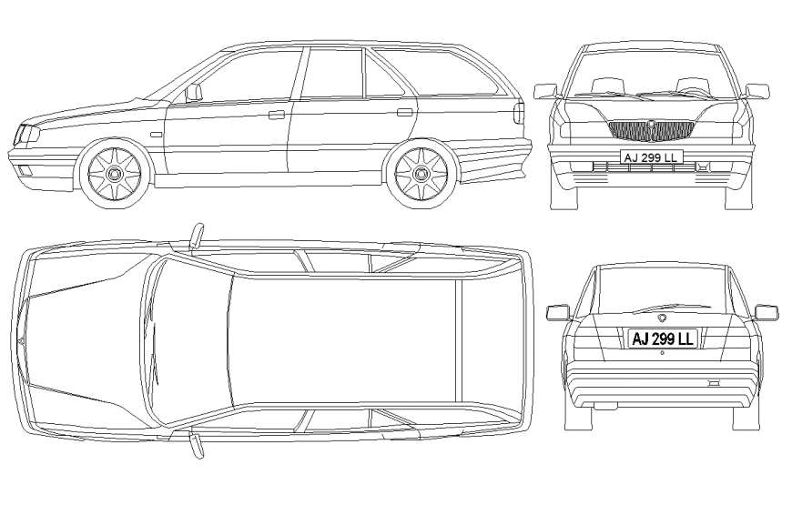 Car detail elevation and plan layout file