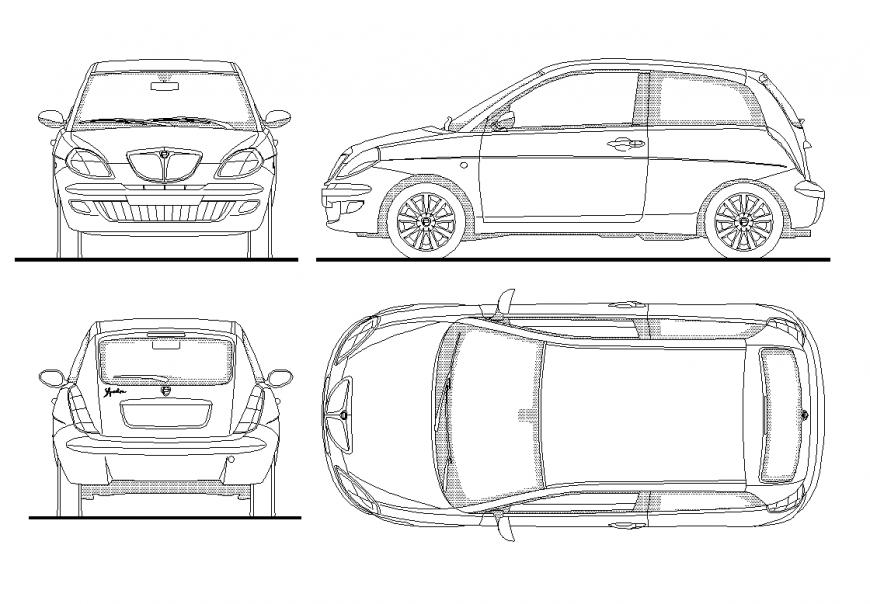 Car detail elevation dwg file