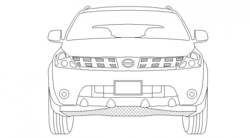 Car drawing details 2d view elevation autocad file
