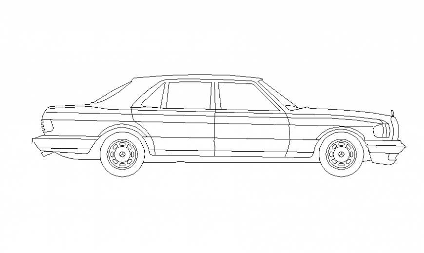 Car front view design with its block dwg file