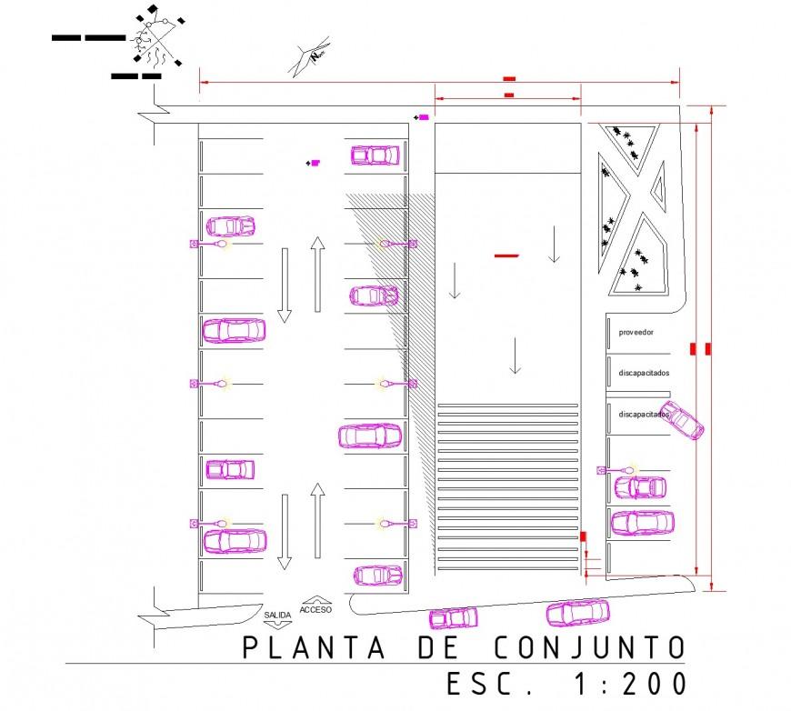 Car parking commercial building basement plan autocad file