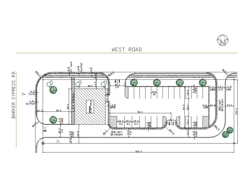 Car parking commercial building planning autocad file