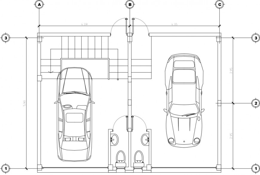 Car parking of a house top view plan