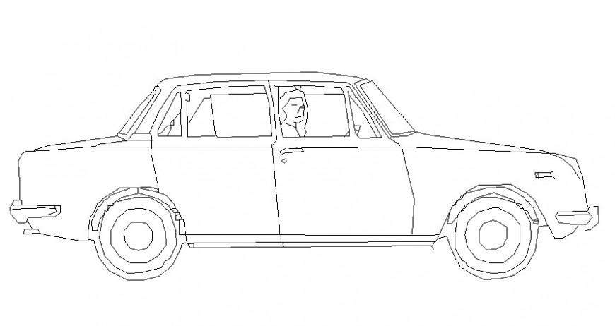 Car side elevation in AutoCAD file