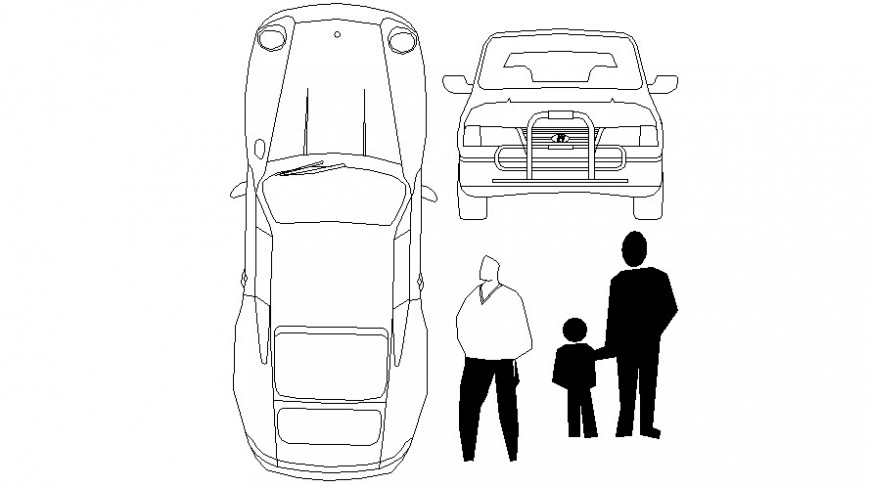 Car top view and front view elevation and people blocks drawing details dwg file