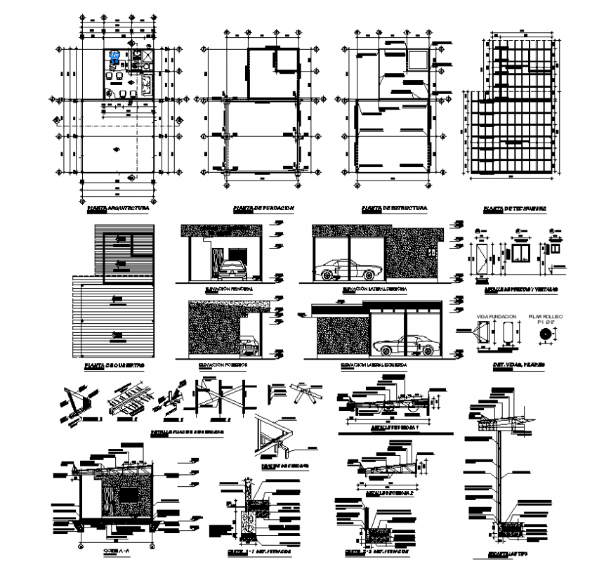 Car washing building structure detail elevation 2d view layout file