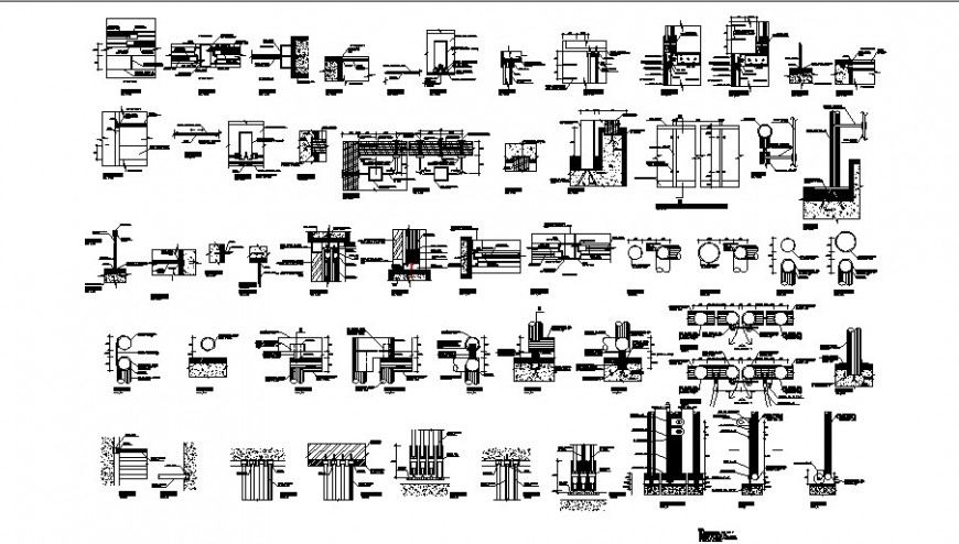 Carpentry and doors and windows installation details dwg file