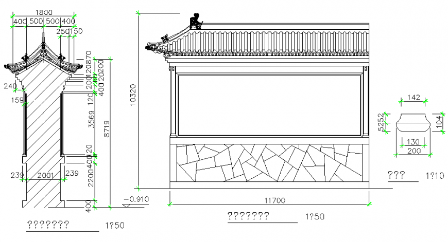 Carved wall building block elevation and section dwg file