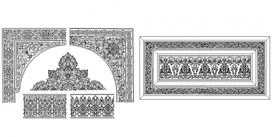 Carving drawing with different design in dwg file.