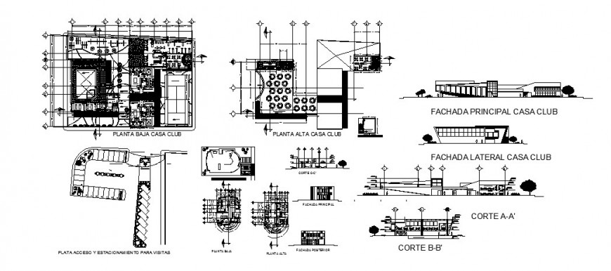 Casa club house detailed architecture drawing details dwg file