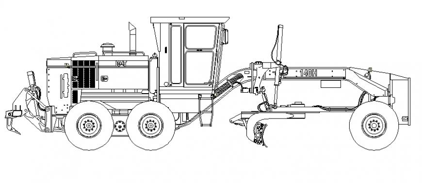 Caterpillar loading vehicle elevation block dwg file