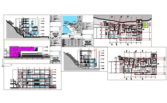 Hotel architecture detail and design in autocad dwg files