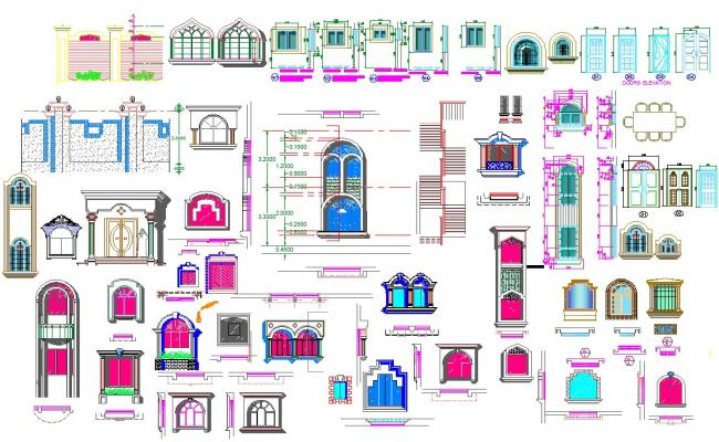 Door and window sections plan and design