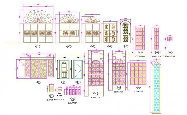 Jali design of door and window in autocad files