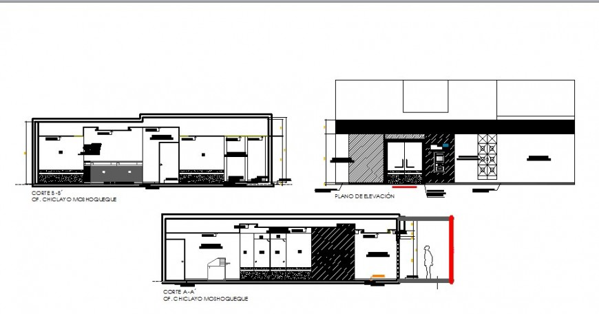 cctv alarm shop elevation and section cad drawing details dwg file